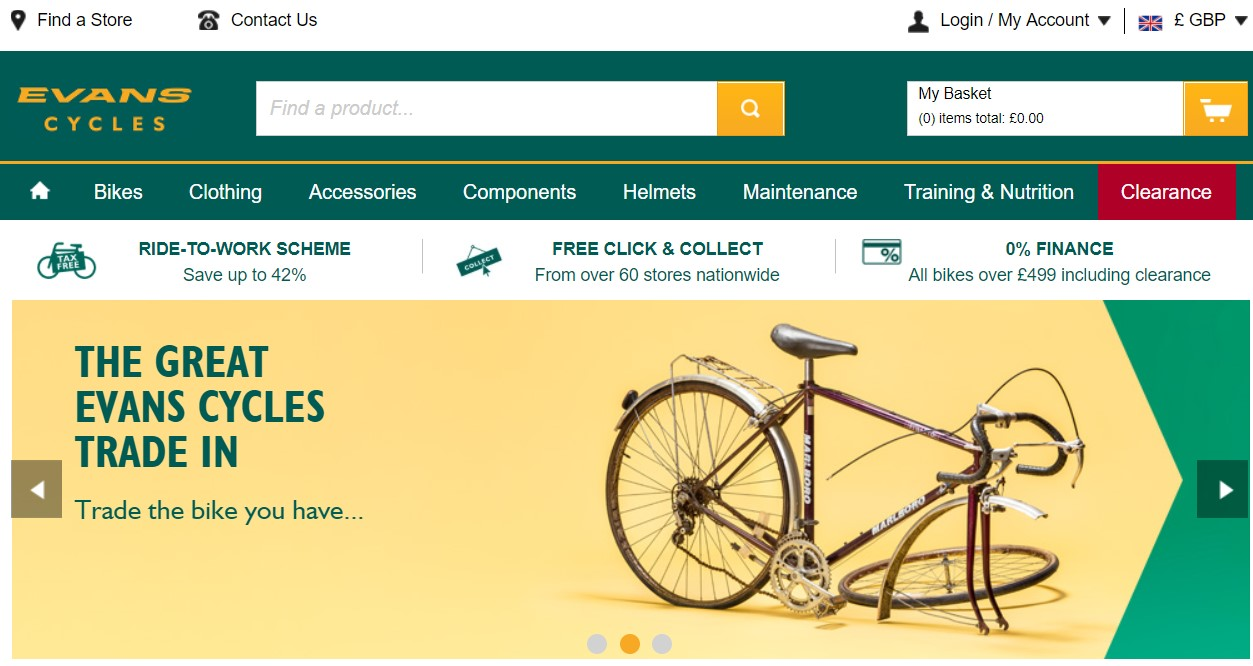 Evans Cycles UK website