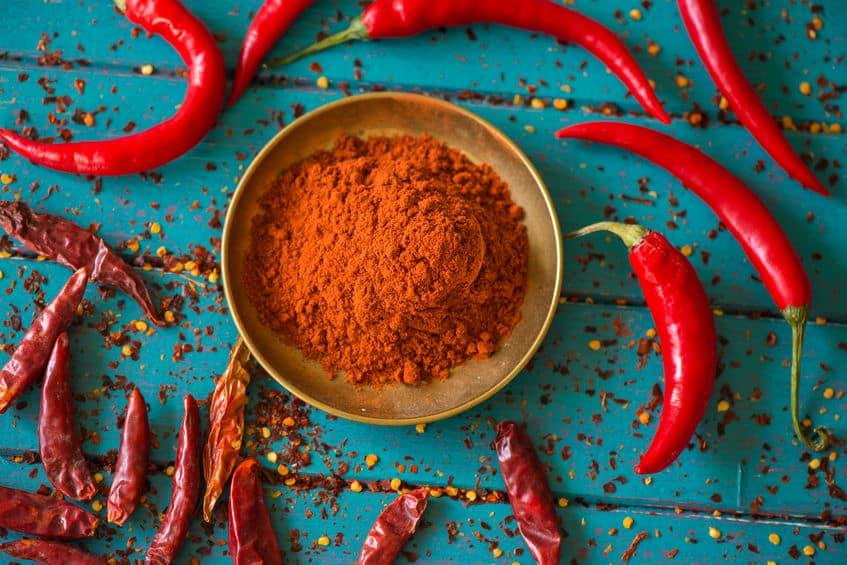 chilli powder and fresh and dried peppers