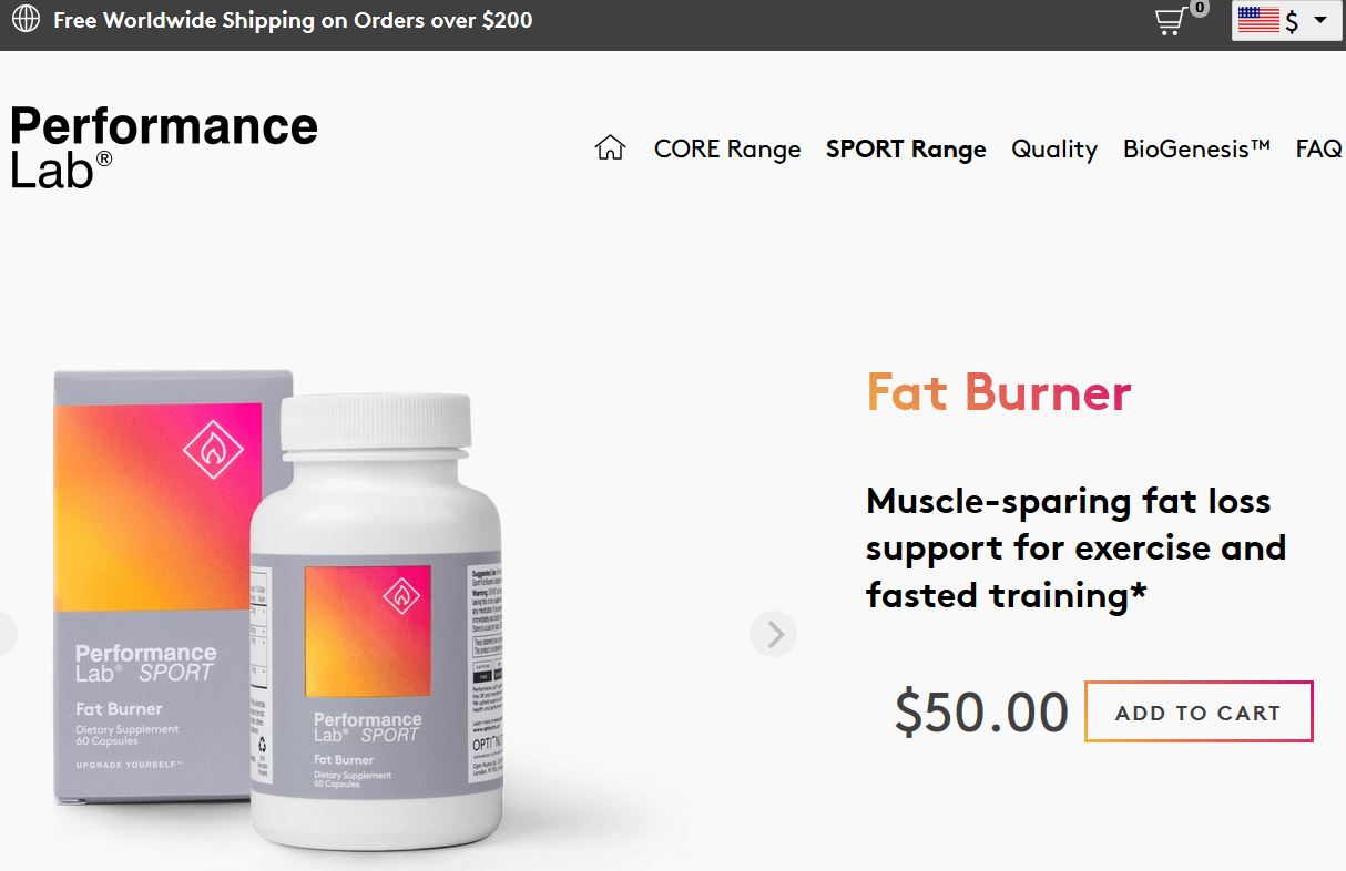 Performance Lab SPORT Fat Burner Website
