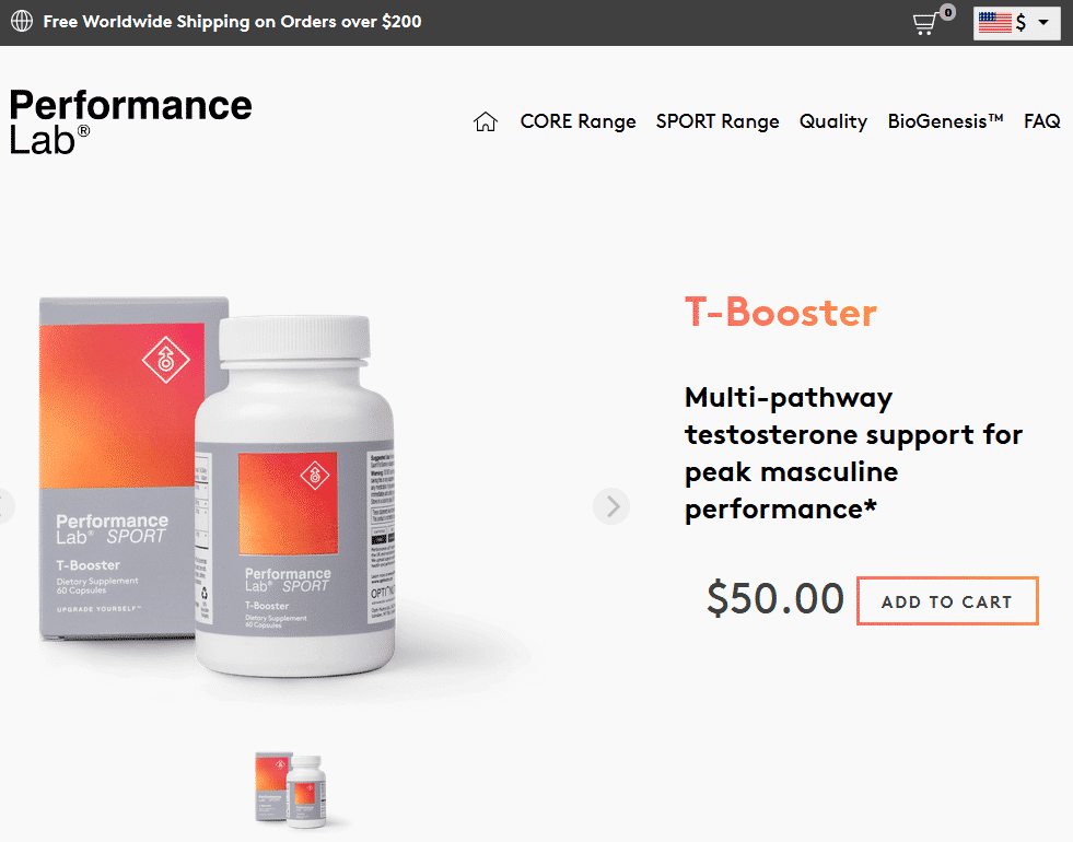 Performance Lab Sport T-Booster Website